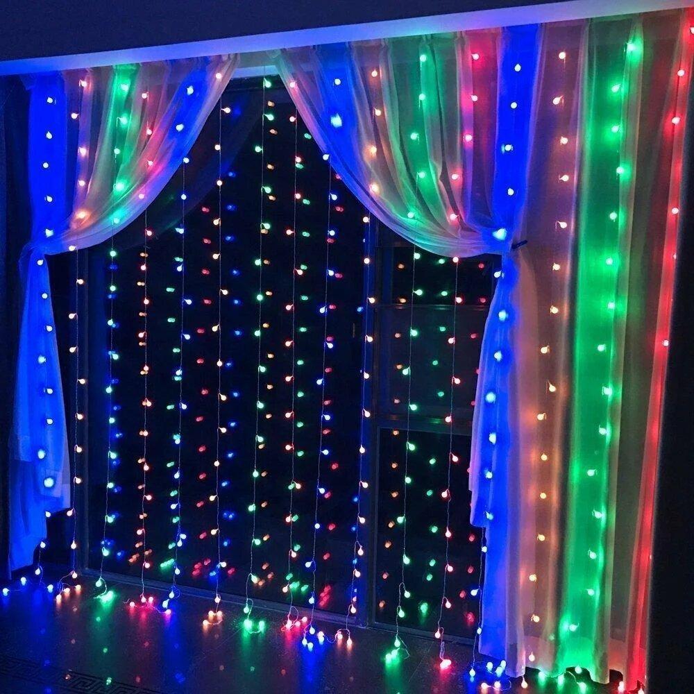 Гирлянда штора Icicle Light 3x2 Разноцветная