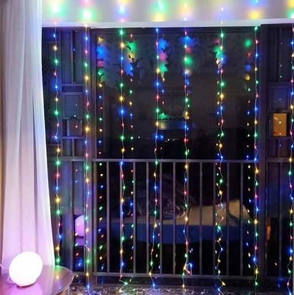 Гирлянда штора Icicle Light 3x2 Разноцветная, фото 2