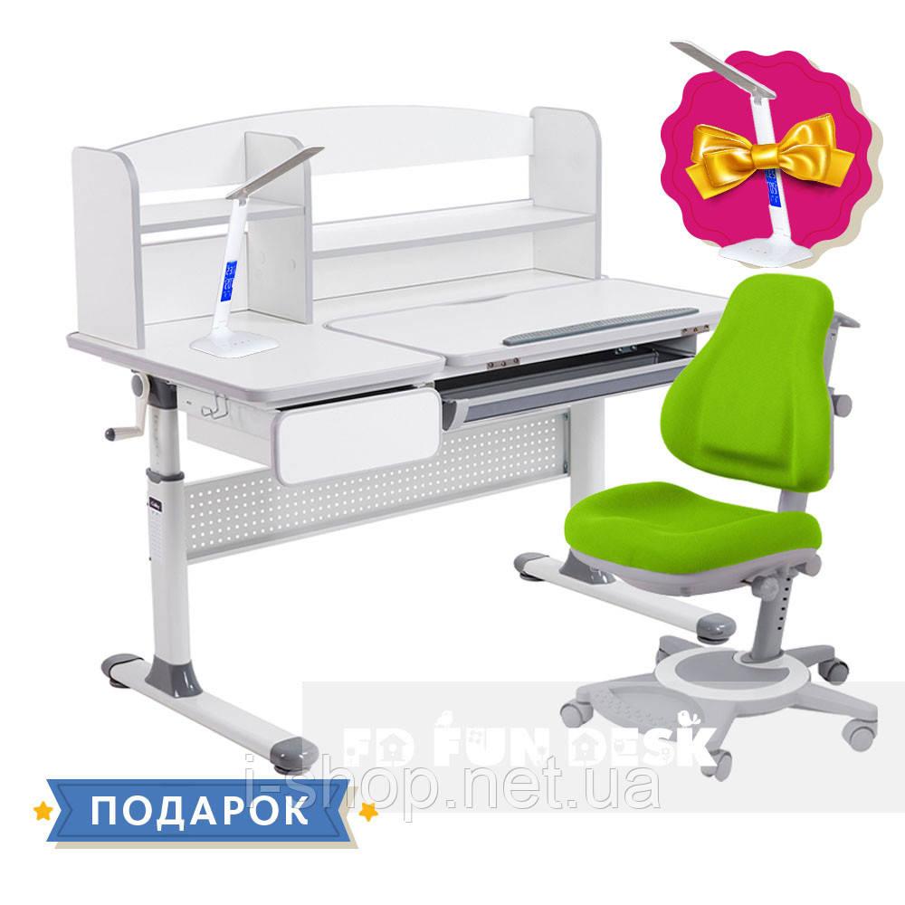 Комплект для школьников парта Cubby Rimu Grey + oртопедическое кресло FunDesk Bravo Green