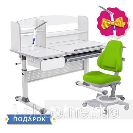 Комплект для школьников парта Cubby Rimu Grey + oртопедическое кресло FunDesk Bravo Green, фото 2