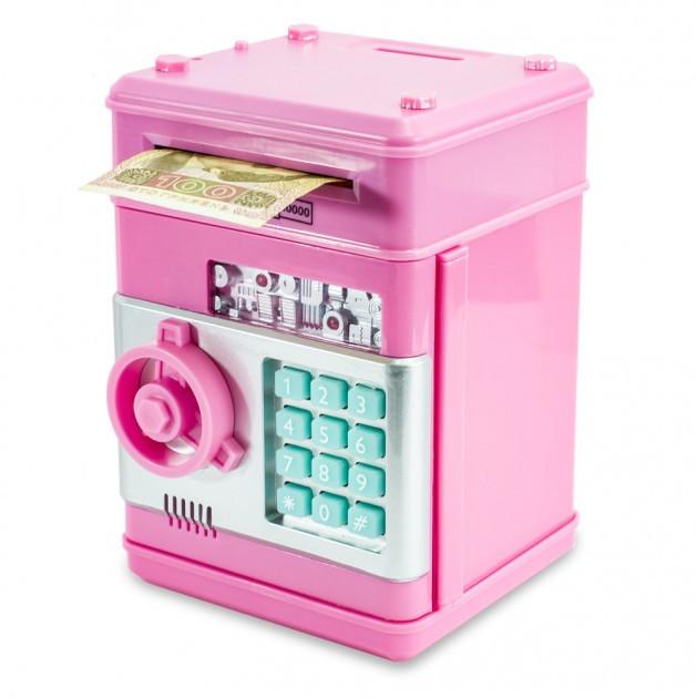 Копилка сейф детский банкомат Number Bank для монет и купюр розовый + батарейки