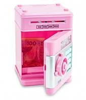 Копилка сейф детский банкомат Number Bank для монет и купюр розовый + батарейки, фото 2