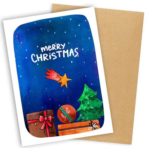 """Открытка с конвертом  """"Merry Christmas""""  11х15см"""