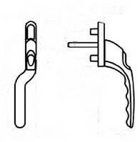"Двухстороння зауженная ручка ""гриф"" с ключом белая (левая)"