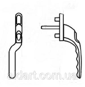 """Одностороння зауженная ручка """"гриф"""" с ключом белая (левая), фото 2"""