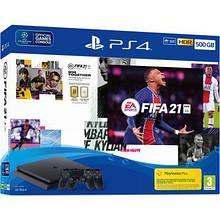 Стаціонарна ігрова приставка SONY Playstation 4 Slim 500 Gb + FIFA 21+2 джойстика