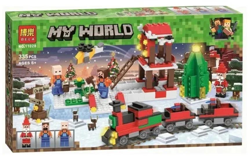 Конструктор Minecraft Новогодний поезд экспресс Майнкрафт 335 Lego