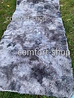 Приліжковий килимок травичка з довгим ворсом 90х200 см Сірий