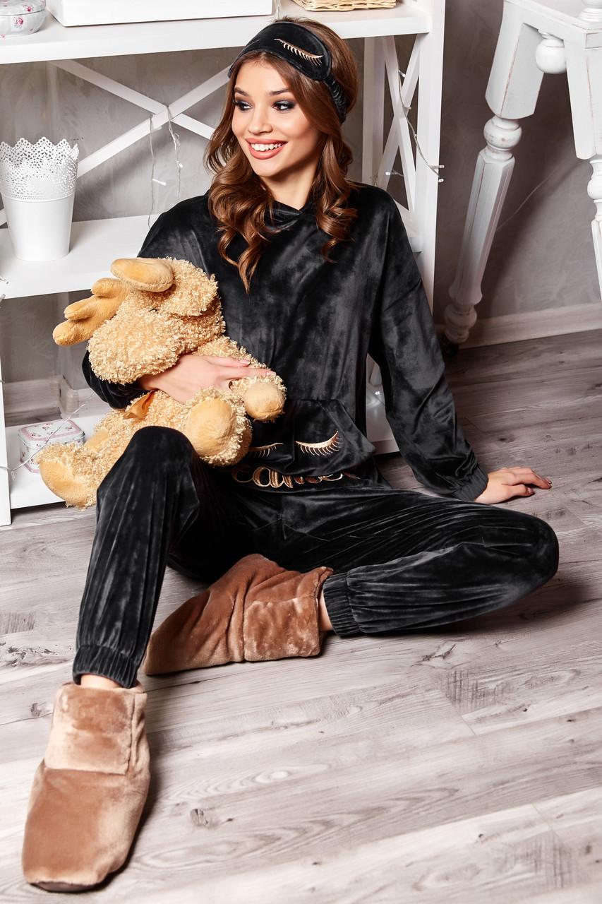 Велюрова піжама жіноча зі штанами і капюшоном графіт
