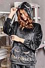 Велюрова піжама жіноча зі штанами і капюшоном графіт, фото 3