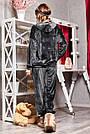 Велюрова піжама жіноча зі штанами і капюшоном графіт, фото 6