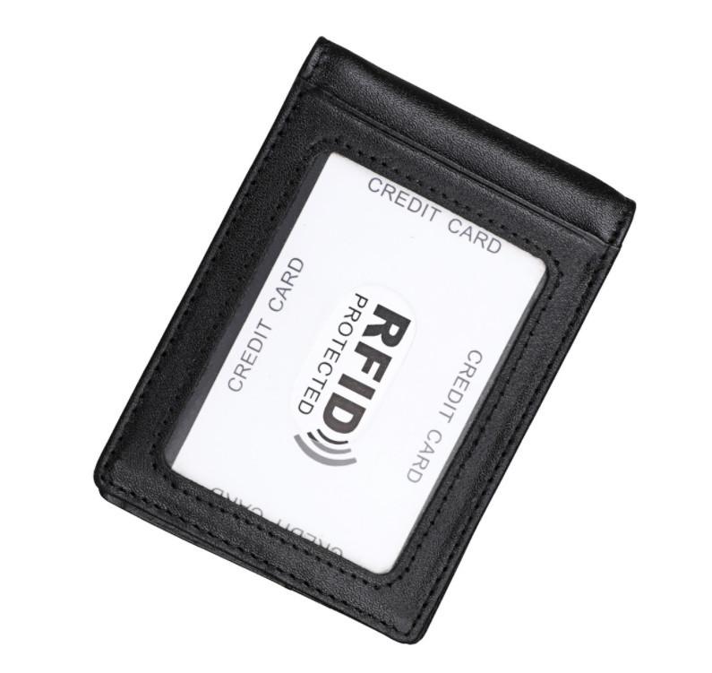 Кошелек мужской мини портмоне + зажим / натуральная кожа (10247) Черный