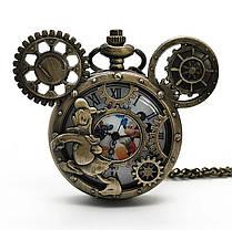 Мужские часы карманные Микки Маус на цепочке отличный подарок, фото 3