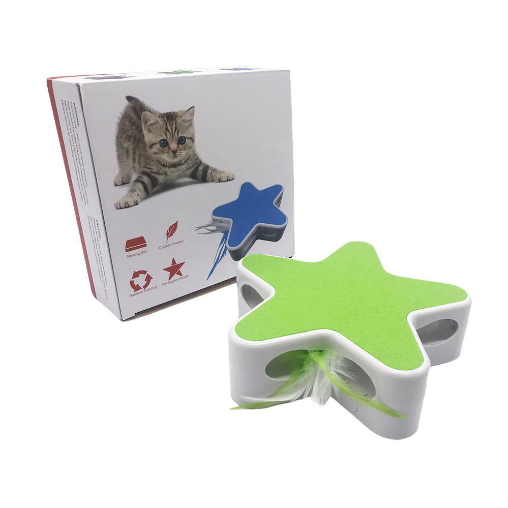 Інтерактивна іграшка Зірка з пером для кішок смарт когтеточка Зелена Інтерактивні іграшки для кішок