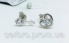 Серебряные серьги вкруточки Стрела любви