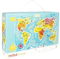 Пазл Карта мира на английском для детей, 100 элементов от 5 лет