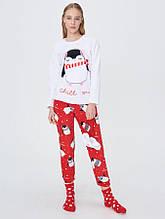Женская пижама из флиса с носками и маской для сна S