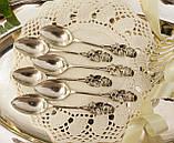 Шесть серебряных чайных ложек, Хильдесхаймская Роза, серебро, 800 проба, Германия, фото 4