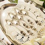 Шесть серебряных чайных ложек, Хильдесхаймская Роза, серебро, 800 проба, Германия, фото 6