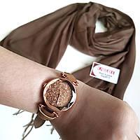 Набор котоновый шарф и красивые наручные часы в коричневых тонах - выгодное предложение