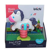 Музыкальная игрушка K999-138B (48шт) лошадка, на присоске,18см, муз,звук, св,бат, в кор,22-21-11,5см