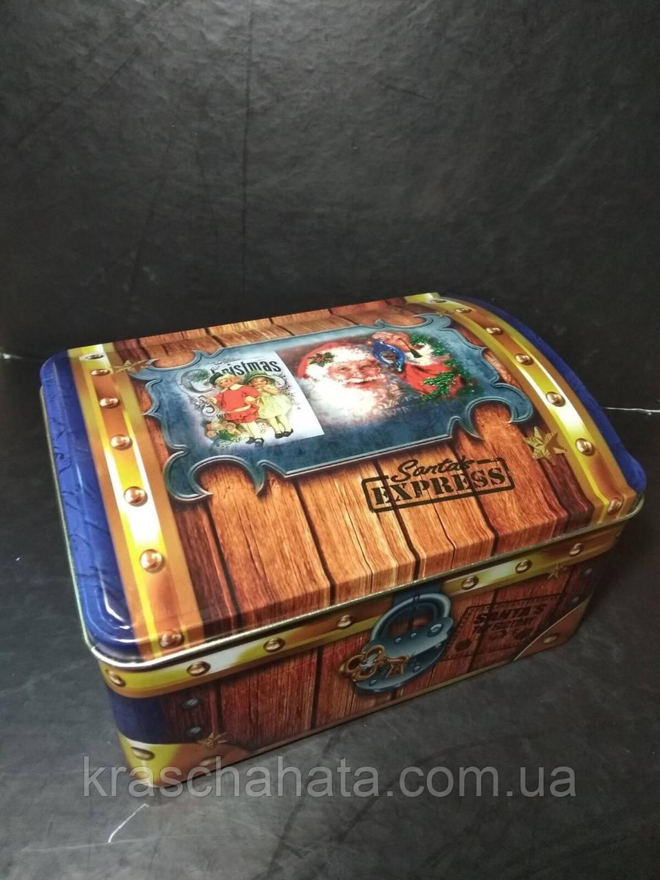 Новогодняя коробка шкатулка, Сундук, Жестяная упаковка для конфет, 900 гр,  Металлическая коробка для конфет
