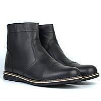 Зимняя мужская обувь челси ботинки кожаные черные на меху широкая стопа Rosso Avangard Danni Comfort Black, фото 1