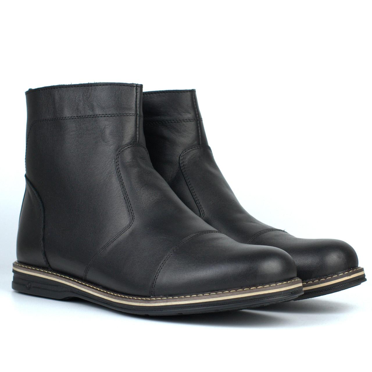 Зимняя мужская обувь челси ботинки кожаные черные на меху широкая стопа Rosso Avangard Danni Comfort Black