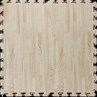 Мягкий пол пазл (60х60х1 см) белое дерево напольное модульное покрытие