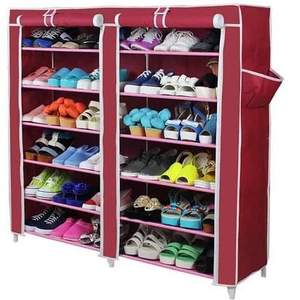 Тканевый шкаф для обуви из 2х секций Т-2712 | Шкаф для обуви на 12 полок, фото 2