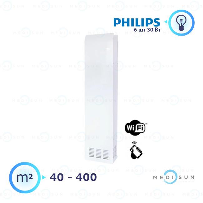 Облучатель рециркулятор медицинский, рециркулятор воздуха АЭРЭКС-ПРОФЕШНЛ 560 с WiFi Завет, лампа Philips