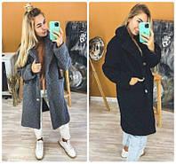 Трендовое женское зимнее пальто на овчине с утепленной подкладкой и карманами по бокам 2 цвета С М Л, фото 1