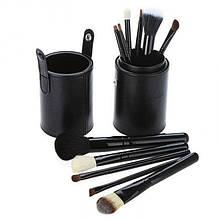 Набір 12 кистей для макіяжу Bananahall в чорному чохлі-тубусі (bnnhll2040)