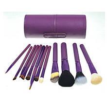 Набір 12 кистей для макіяжу Bananahall у фіолетовому чохлі-тубусі (bnnhll2041)