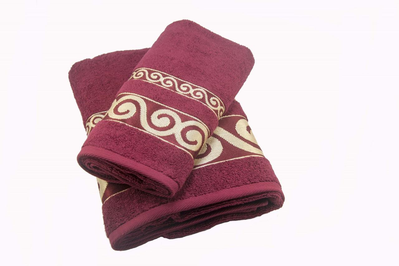 Набір махрових рушників Parisa Касабланка бавовняні 50х90 см, 70х140 см Бордовий (1005205)