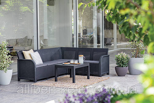 Комплект садовой мебели Allibert by Keter Rosalie 6 Seater Corner with Orlando Big Table