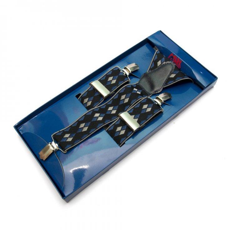 Подтяжки Gofin suspenders Y Образные Черно-синий (Pu-0460)