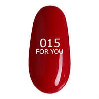 Гель-лак For You №015 (красная ягода, эмаль) , 8 мл