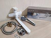 Смеситель для ванны из термопластика пластика с длинным поворотным гусаком Brinex 35W005-003с лейкой и шлангом