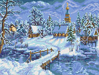 "Схема для вышивки бисером на атласе ""Зимний вечер"" Размер 36х27 см."