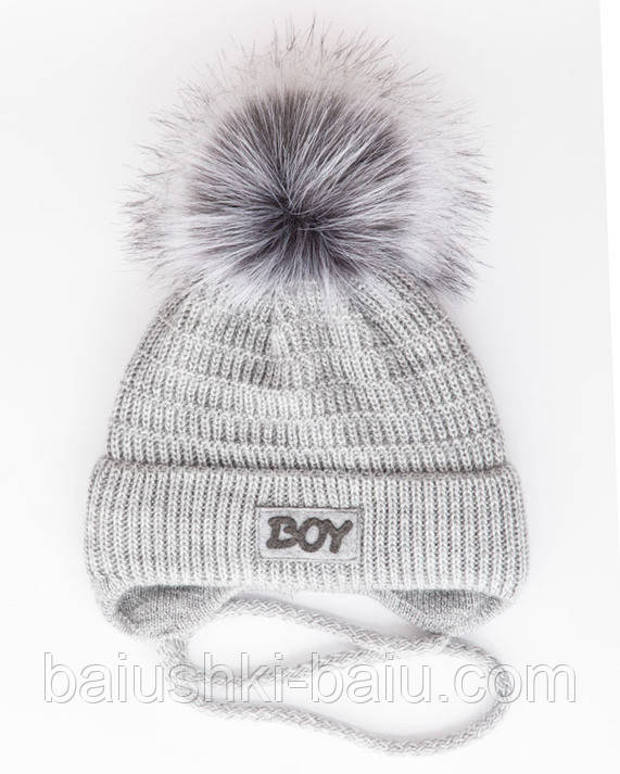 Теплая шапка на завязках для новорожденного мальчика (флис), р. 42-46