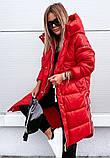 Куртка женская зимняя длинная чёрный красный хаки, фото 5