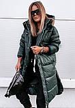 Куртка женская зимняя длинная чёрный красный хаки, фото 3