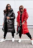 Куртка женская зимняя длинная чёрный красный хаки, фото 2