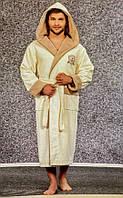 Мужской махровый халат Nusa NS-7160 Bej хлопок бежевый