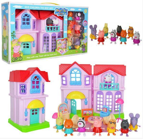Игровой набор домик со звуком и светом свинка Пеппа 4 комнаты 8 фигурок, РР 612А