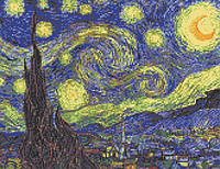 """Схема для вышивки бисером на атласе """"Ван Гог (Звездная Ночь)"""" Размер 36х27 см."""