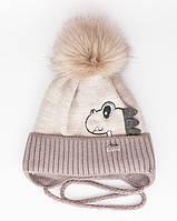 Зимняя шапка для мальчика на завязках с помпоном (флис), р. 46-50