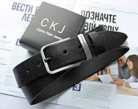 Мужской ремень пряжка серебро Calvin Klein черный