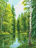 """Схема для вышивки бисером на атласе """"Озеро в лесу"""" Размер 27х36 см."""